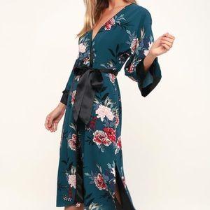 Lulus Kimono Wrap Dress - Teal